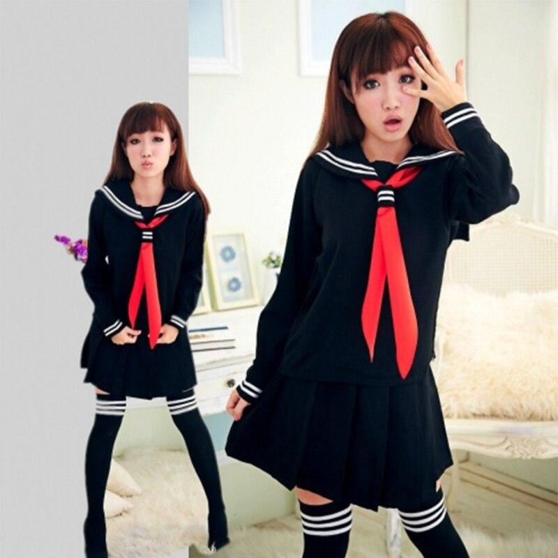 UPHYD S-XXXL JK Student School Girls Uniforms Black Long Sleeve Top+Skirt+Red Tie Cosplay Sailor Uniform XJG1022