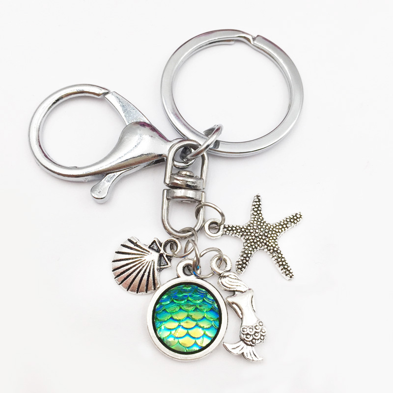 Beauty Mermaid Fish /Dragon Scale Keychain&Keyring Starfish seashells Jewelry Gift Women Girl Friend 12 Colors availab