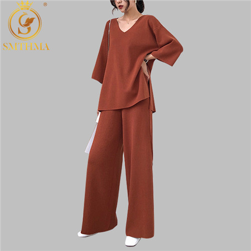 2019 Winter Knitting Female Sweater Pant Suit For Women Two Piece Set Knitted Pullover V-neck Loose Top Wide Leg Pants Suit
