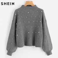 SHEIN Pearl Beaded Rib Knit Jumper Autumn Winter Womens Pullover Sweaters Grey Stand Collar Long Sleeve