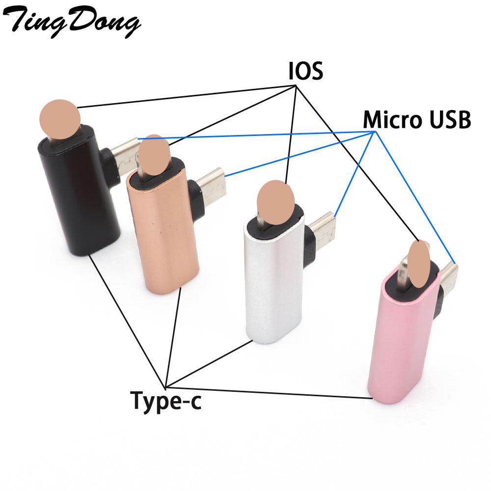 USB C Female To IOS + Micro Usb Male Adapter For  IPhone X XR XS Max 8 7 6 Type-c To 8pin Charging Sync Charger Cable Converter