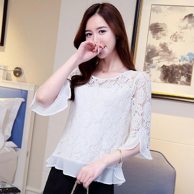 2018 summer new women chiffon shirt sleeve Top Beading Women Blouses Shirt Blusas Female Lace Blouses Beach CasGirl Lace 109C