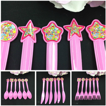 6pcs Candy balloon theme plastic fork spoon knives for kids happy birthday Party decoration set