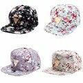 Alta qualidade mulheres flor floral snapback hop chapéu plana boné de beisebol ajustável moda 2016 venda quente