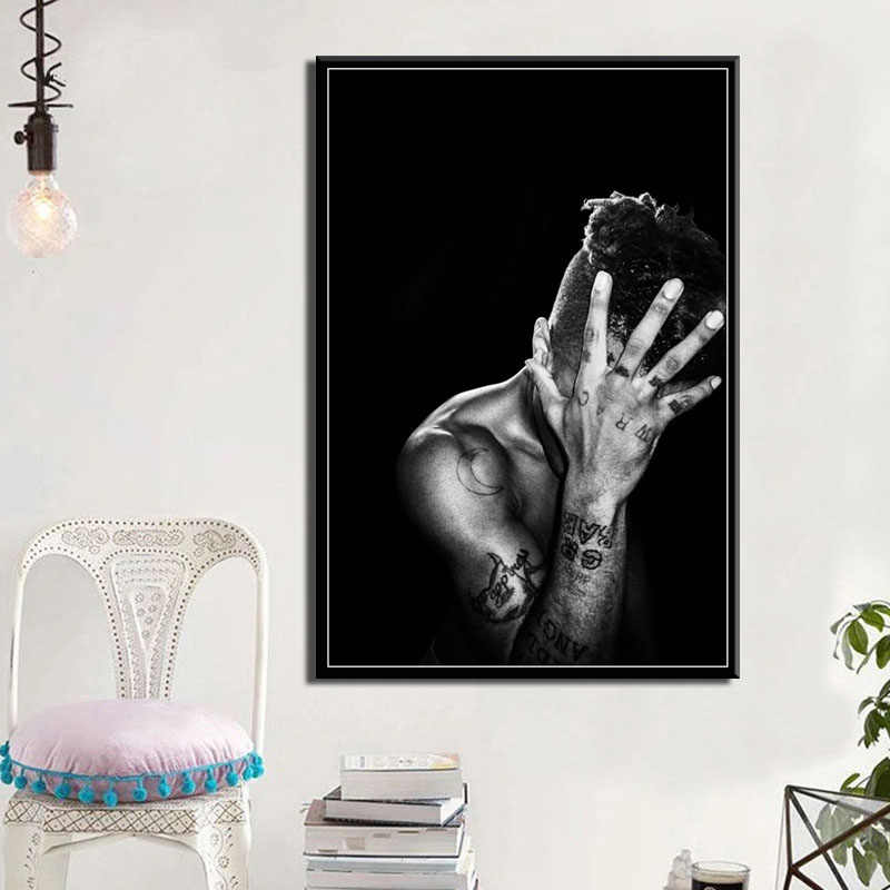 P020 XXXTentacion Rap Hip Hop Music Star Singer Art Painting Silk Canvas Poster Wall Home Decor Artwork