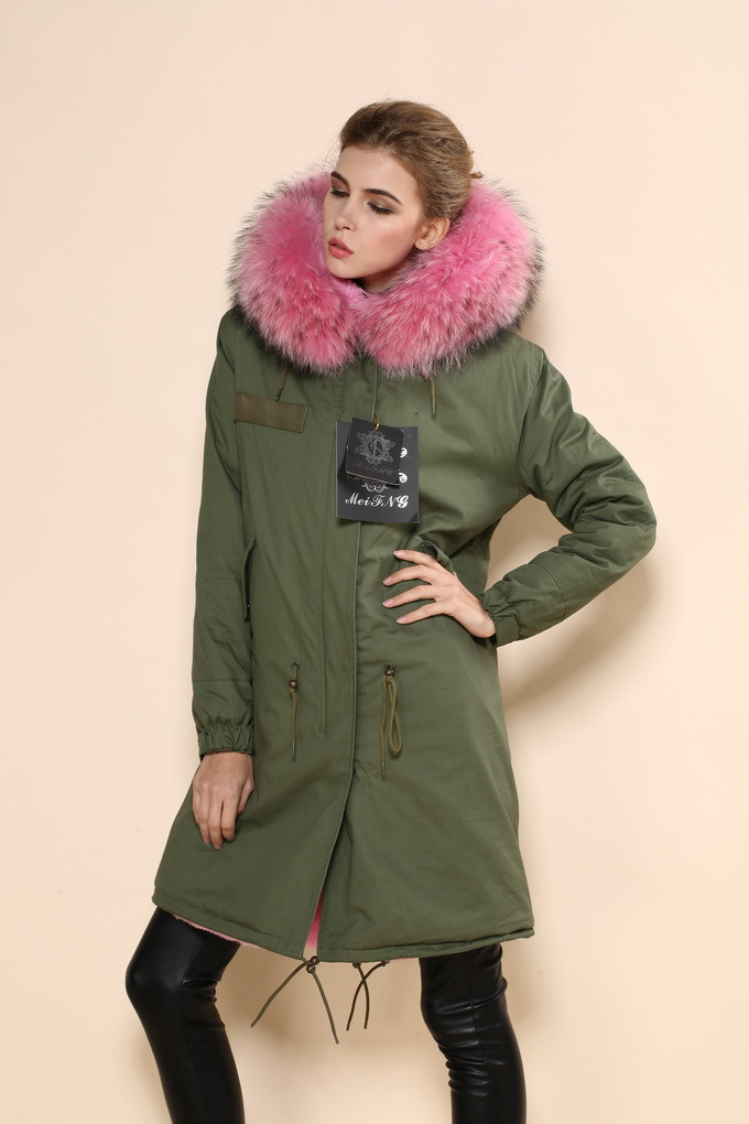 Free shipping top quality military green fake fur pink lined coat ...