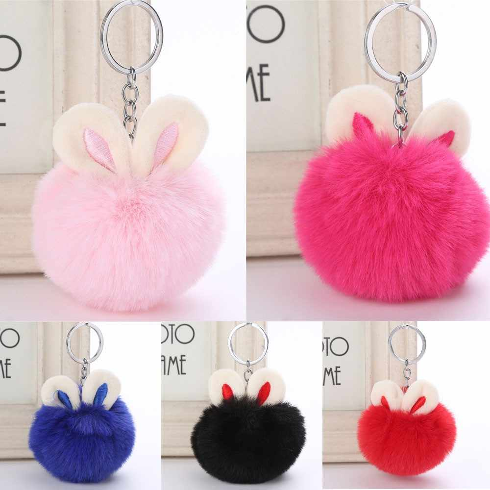 OTOKY 2018 Hot Sale 7 cm Coelho Bonito Chaveiro Pingente Mulheres Anel Chave Titular Pompons Chaveiro Oct.29