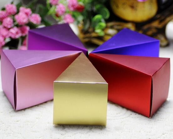 50pcs Pink Blue Purple Gold Red Wedding Favor Gift Candy Box Cake