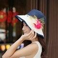 Nuevas Mujeres Sombrero para el Sol Sombrero Grande Ancho de Playa Del Verano Del Borde de Paja de Color Caramelo Tapa con una Decoración de Flores
