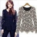 Blusas тело женщины кружева блузки топы blusa ренда большой размер вязание крючком блузка женские рубашки черный 2xl 3xl 4xl xxxxl длинные рукава