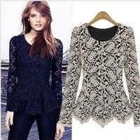 Blusas Body Women Lace Blouses Tops Blusa Renda Big Size Crochet Blouse Female Shirts Black 3xl