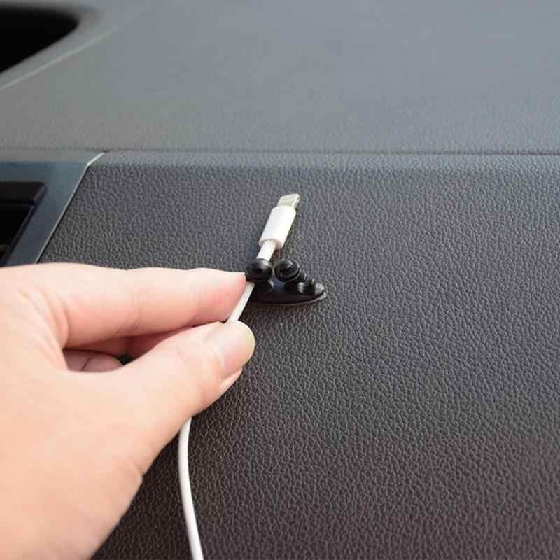 8 Chiếc Xe Dây Cáp USB Giá Đỡ Kẹp Cà Vạt Fixer Cáp Tai Nghe Người Tổ Chức Multifuction Dẫn Đường Đen Xe Dòng Sạc Kẹp