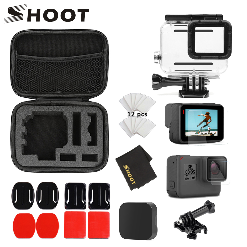 SHOOT For Gopro Accessories Set For Gopro Hero 7 6 5 Black Waterproof Case Protection Frame Collection Case For Go Pro 7 6 5 Cam