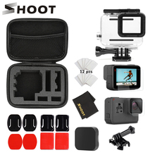 Shoot caixa de proteção para go pro, capa preta à prova dágua para gopro hero 7 6 5 7 6 5 câmera