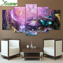 YOGOTOP DIY Diamond Painting Cross Stitch Kits Full Diamond Embroidery 5D Diamond Mosaic Psychedelic Light  butterfly 5pcs ML284 yogotop diy diamond painting cross stitch kits full diamond embroidery 5d diamond mosaic decor colorful butterfly 5pcs ml307