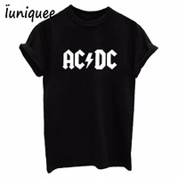 AC DC Band Rock T Shirt Wowen S ACDC BLACK Letter Printed Graphic Tshirts Hip Hop