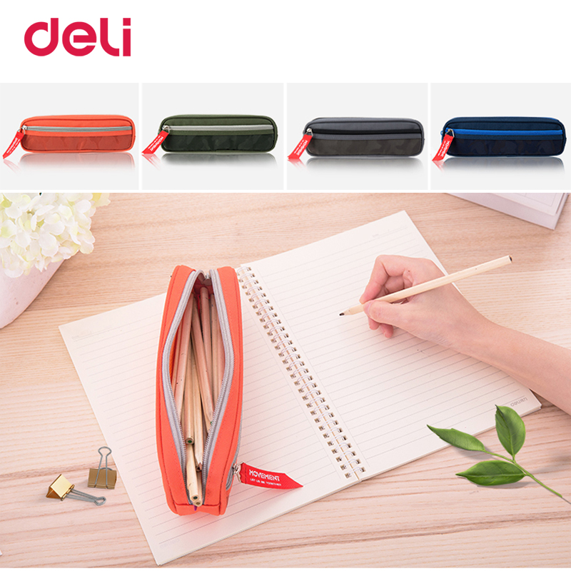 Deli quality camouflage canvas big space pencil bag for school kid office stationery organizer kawaii pencil case pouch box gift good quality 36 48 72 holes canvas pencil case roll up sketch painting pen box school office pencil stationery bag b066