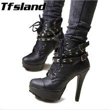 Новинка; женские зимние туфли-лодочки; ботильоны в байкерском стиле; Винтажные ботинки-гладиаторы на высоком каблуке; черные ботинки с пряжкой; прогулочная обувь для свадебной вечеринки; кроссовки