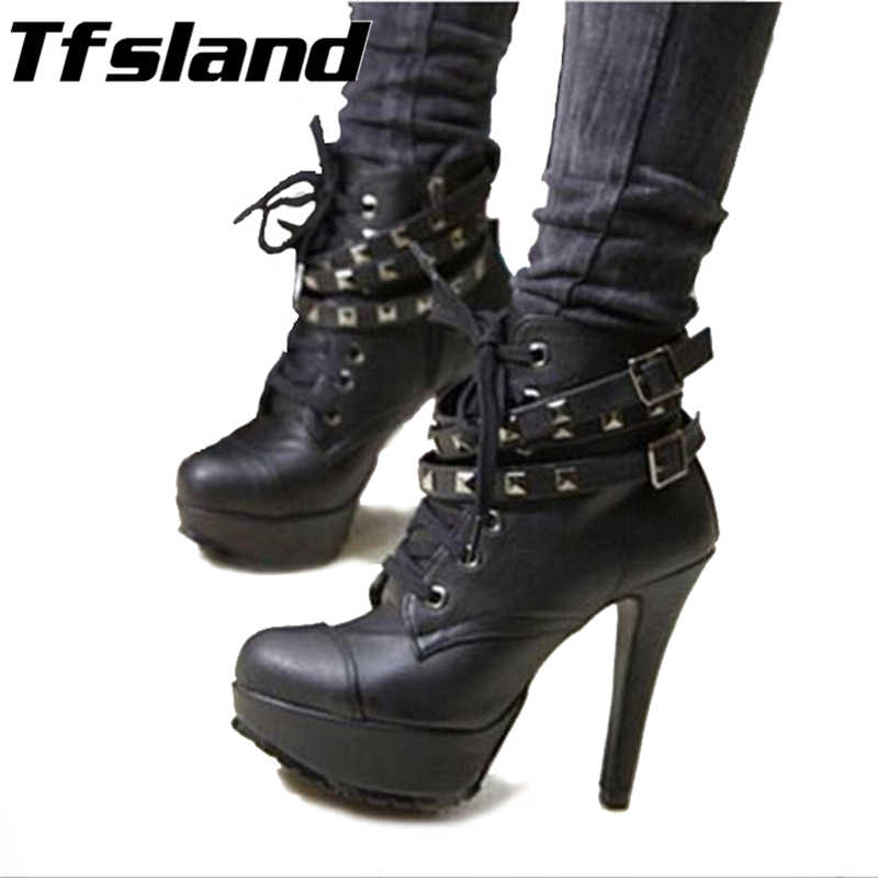 New Women Winter Pumps Motorcycle Ankle Vintage High Heels Gladiator Balck Buckles Boots Wedding Party Walking Shoes Sneakers