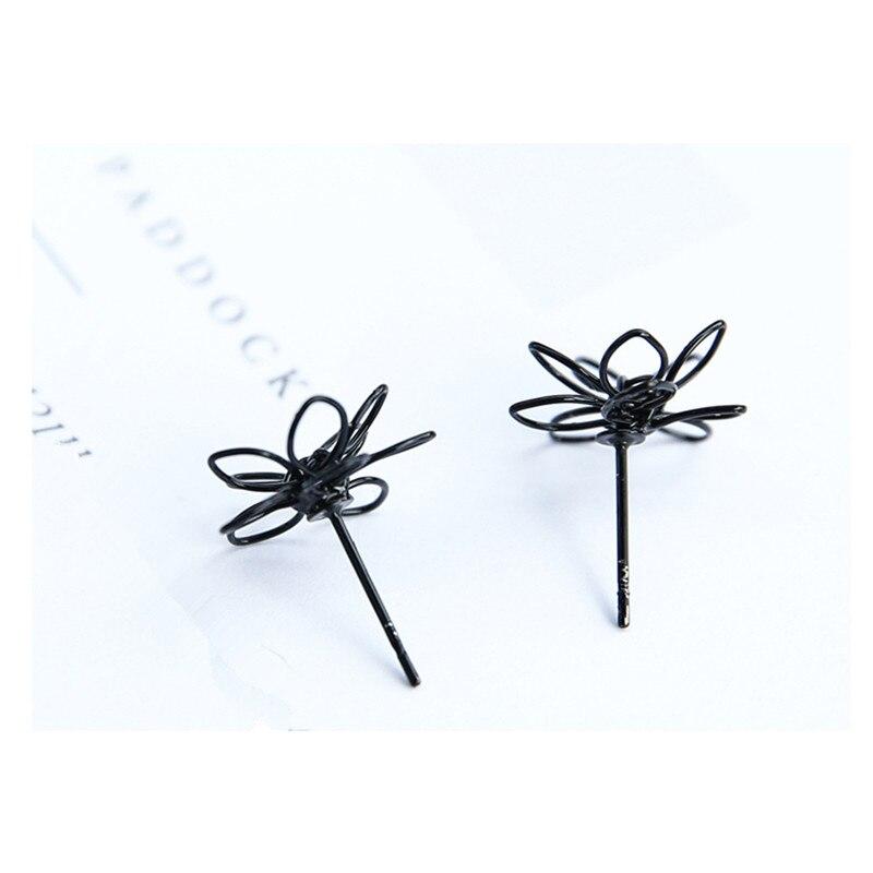 Elegant Charming Small Gold Ball Black Plum Flower Double Sides Stud Earring Prom Wedding Pressent E326