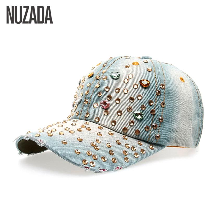 Prix pour Marques NUZADA Femmes Filles Dames Casquette de baseball Motif Ondulé Coton Denim Strass Hip Hop Chapeaux Casquettes Snapback Os szm-031