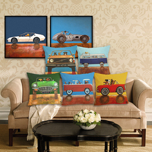 RECOLOUR  Hot sale cartoon dog driving car art Cushion Cover throw pillows Home Decor Pillowcase pillow cover Sofa cojines