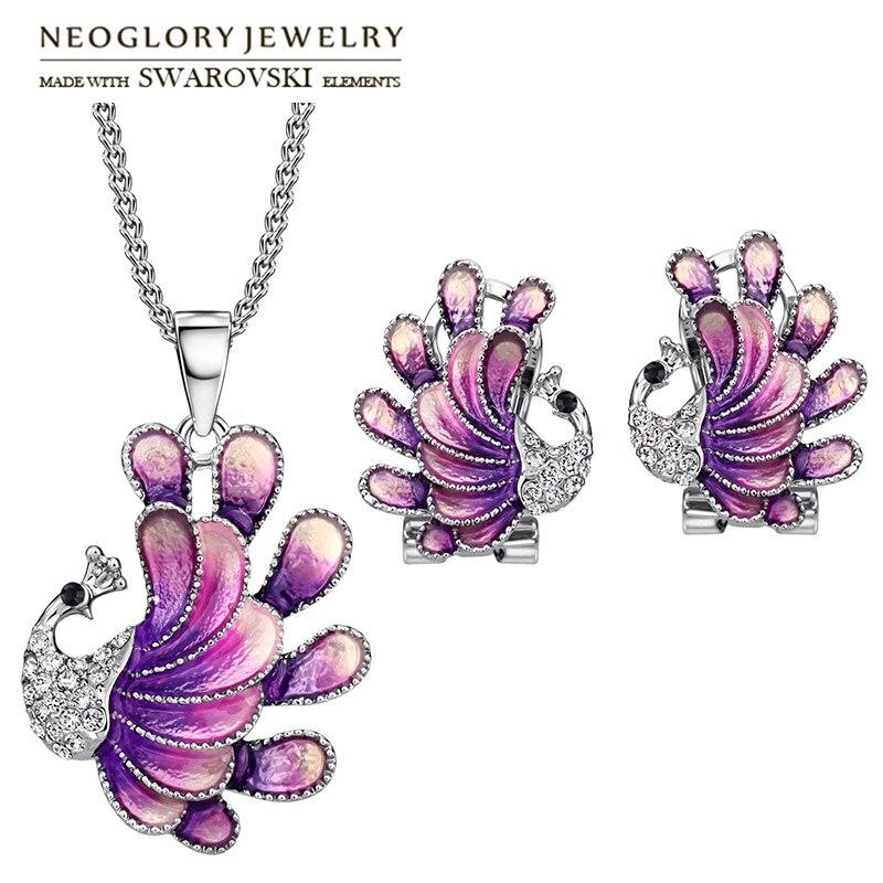 Neoglory Earrings Jewelry-Set Rhinestone Necklace Party Elegant Czech Gift Peacock Enamel