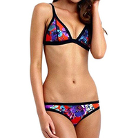 Womens Push Up Padded Ethnic Printed Strappy Raceback Bikini Swimsuit Style 3 Multicoloured