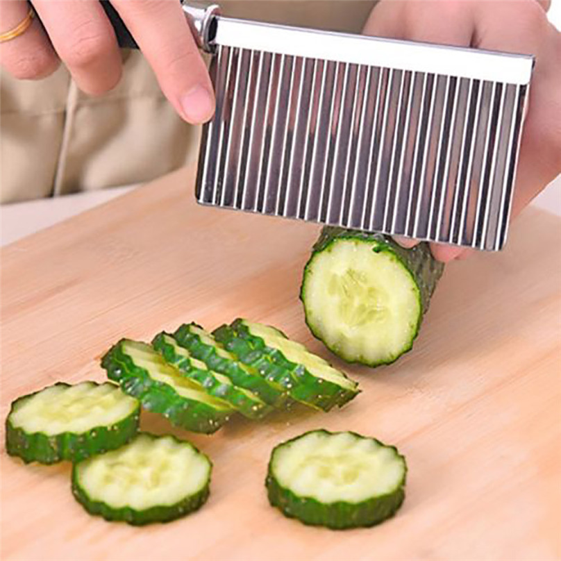 Potato Wavy Edged Tool Stainless Steel Kitchen Gadget Vegetable Fruit Cutting #3d07 (8)