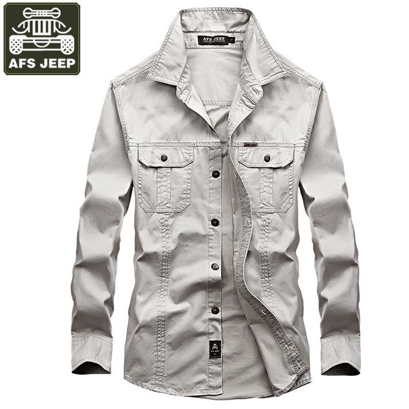 341019ef8d8 AFS JEEP Brand Clothing 100%Cotton Men Shirt Camiseta Masculina 2018 Camisa  Jeans Solid Shirt ...