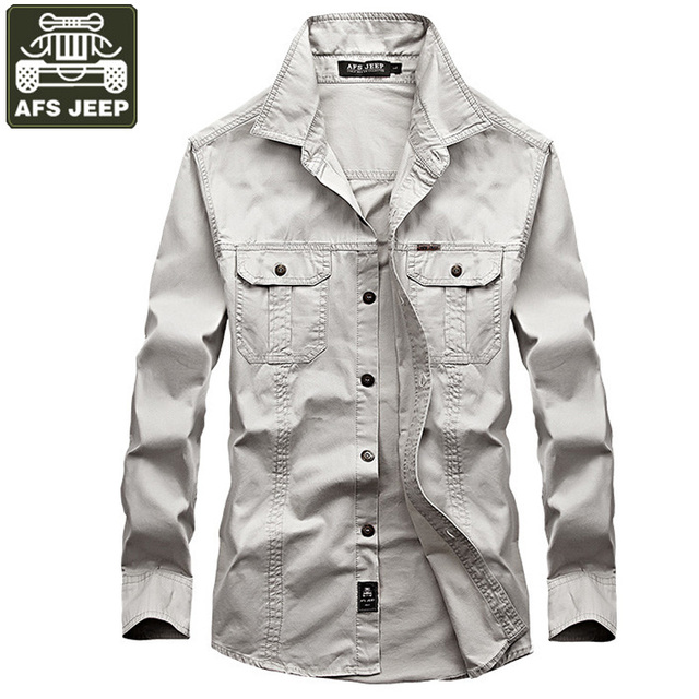 ba873287eb5 AFS JEEP Brand Shirt Men Casual Shirts 100% Cotton Long Sleeves Shirt Army  Military Camisa Masculina Size 6XL Solid Men Shirt