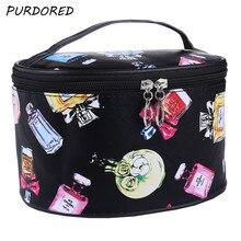 PURDORED 1 pc 3D Printed Cosmetic Box Waterproof Women Zipper Makeup Bag Perfume