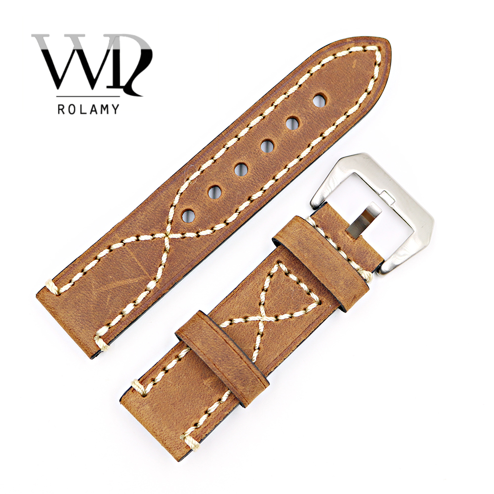 Rolamy 20 22 24 26mm Brown Thick Strap Watch Band  For Tag CARRERA Omega Montblanc Panerai Daytona Submariner Tissot