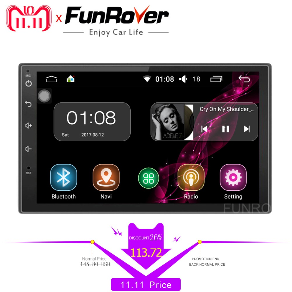 FUNROVER 2 Din Android 8.0 Car dvd Radio player 7 Inch Universal Quad Core Car Multimedia Player GPS Navigation audio stereo RDS funrover 9 2 din android 8 0 car radio multimedia dvd player gps for great wall haval h3 h5 2010 2013 glonass wifi fm quad core