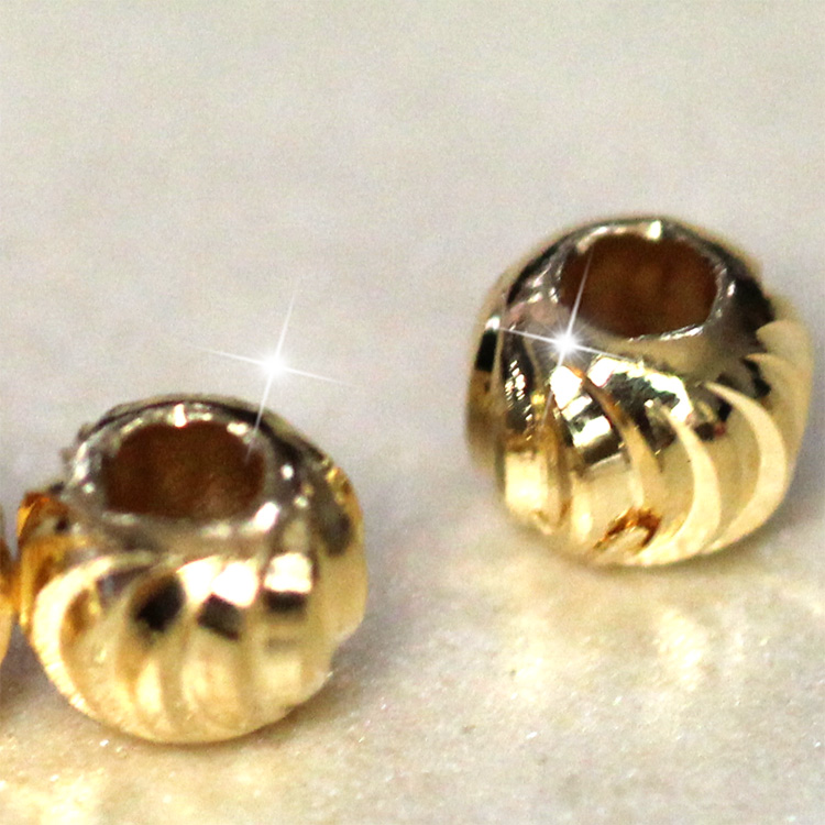 high quality jewelry components corrugated round bead gold easy jewelry making 0.4*0.4*0.4cm