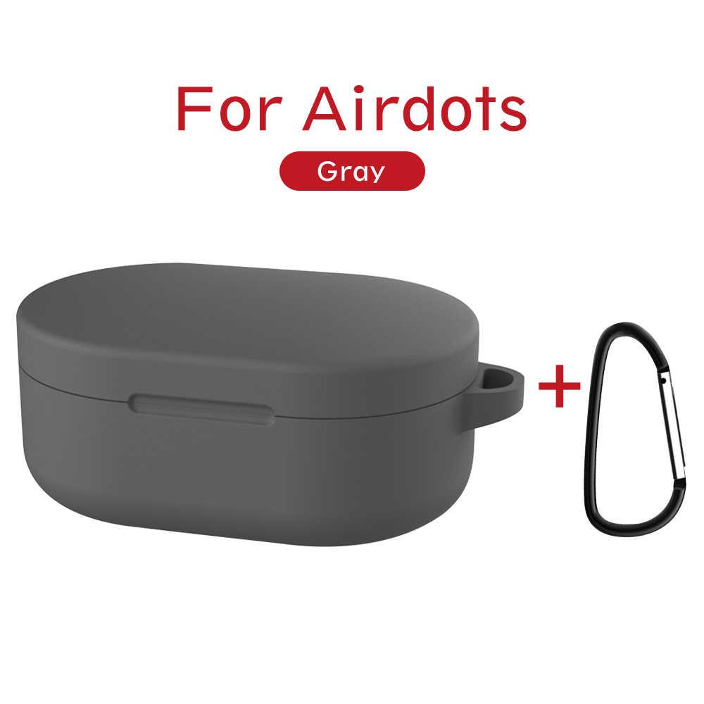Silikon kılıf toka ile kırmızı mi mi AirDots hava nokta 2019 yeni kılıf kapak kablosuz bluetooth kılıfları yumuşak TPU kabuk