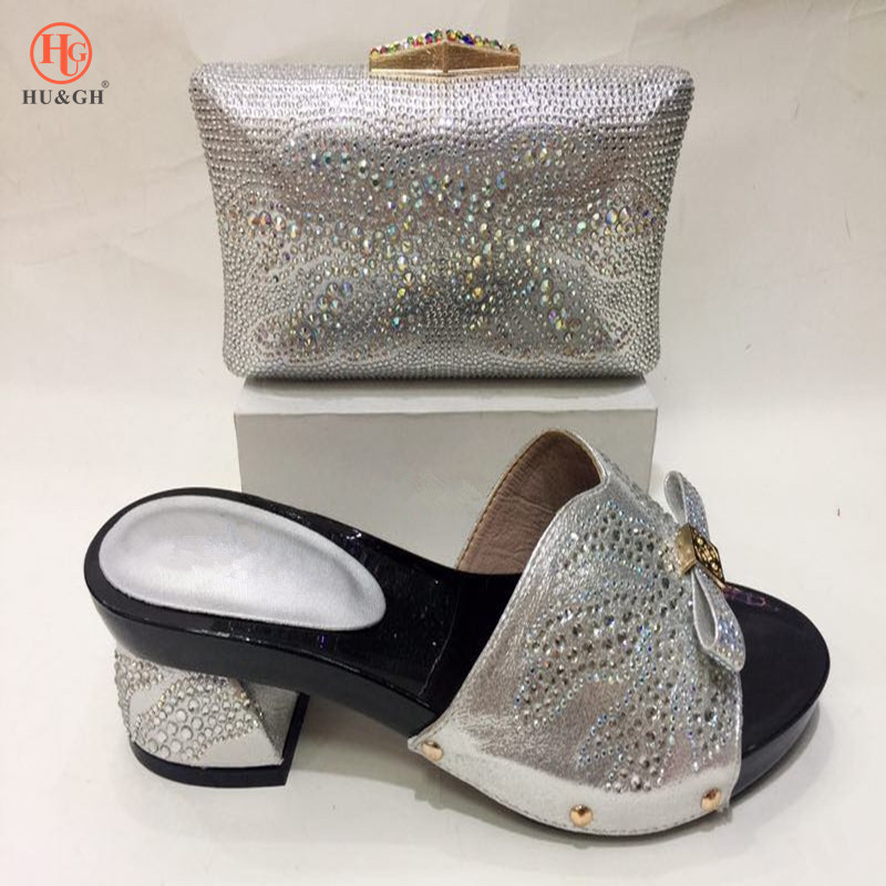 Italian Ladies Shoes and Bag Set High Quality African Wedding Shoes and Bag Set Nigerian Shoes and Matching Bags Silver shoes цены онлайн
