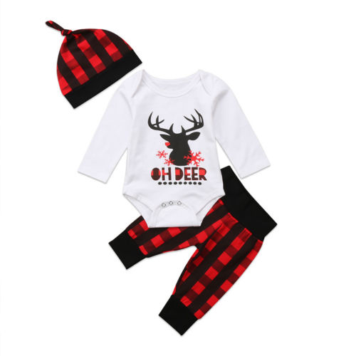 Christmas Newborn Baby Boy Girl Deer Print Romper Red Black Plaid Pants Leggings Hat Outfits Xmas Winter Cotton Clothes 3pcs