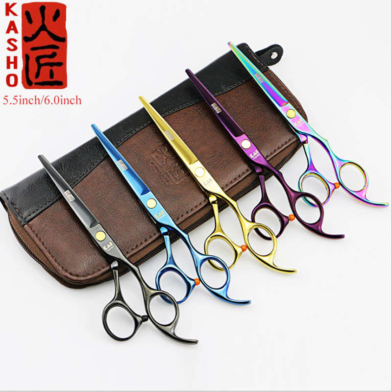 2 Scissors+1 bag Kasho 5.5/6 Inch High Quality Professional Hairdressing Scissors Hair Cutting Barber Shears Sets Thinning Salon 6 0 5 5 inch thinning teeth blade scissors hair shear for salon hairdressing barber scissor shears tesoura de cabeleireiro