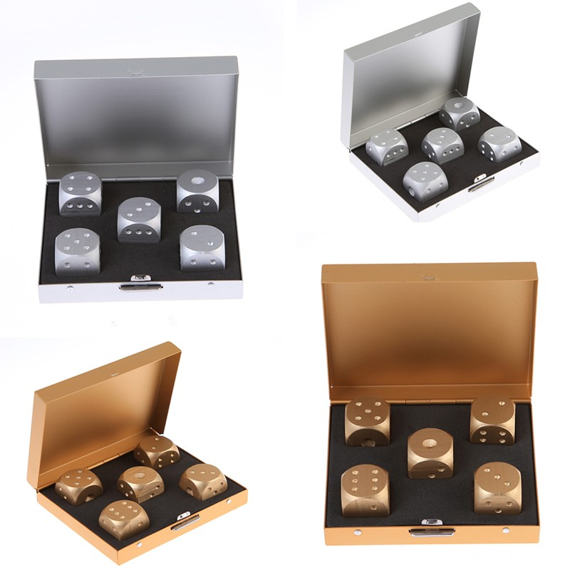 5PCs/Lot High Quality Aluminium Alloy Poker Dice Silver Gold Portable Dominoes Metal Dice Party Drinking Board Game Dice Set