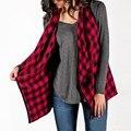 Женщины Плед Пальто Куртки Мода Повседневная Нагрудные Рукавов Проверяет Верхняя Одежда Для Женщин Весна Осень Тонкий Слой