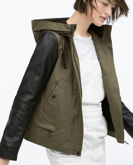 Ref 3046/023 ZA 2015 New female Genuine Army Green Coats Jackets Hooded parka with leather effect sleeve Women Short Outerwear