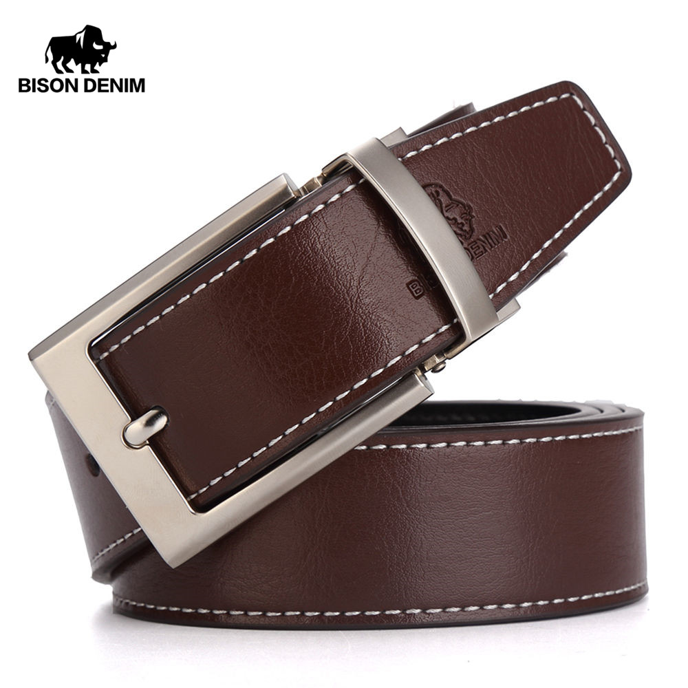BISON DENIM Mens Genuine Leather   Belt   Reversible   Belt   Pin Buckle Casual Brown Black Men's   Belt   W71301-1Z