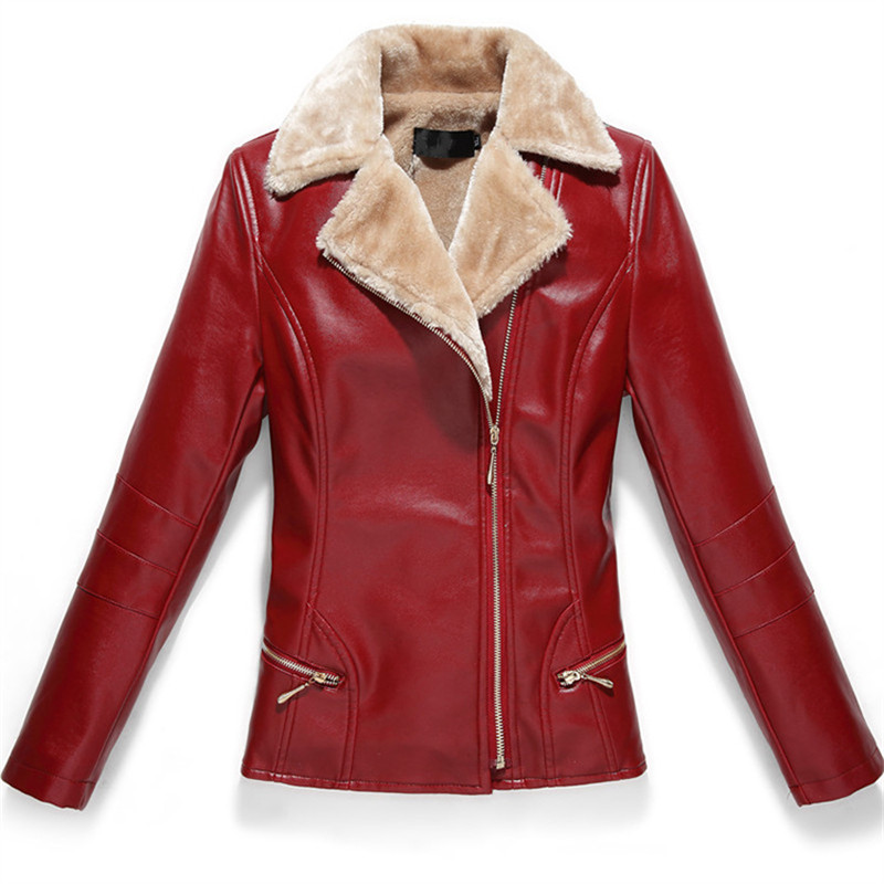 L-7XL Women 2019 Autumn Winter New Fashion PU   Leather   Fleece Jacket Faux Soft   Leather   Coat Slim Zipper Motorcycle Black Jackets