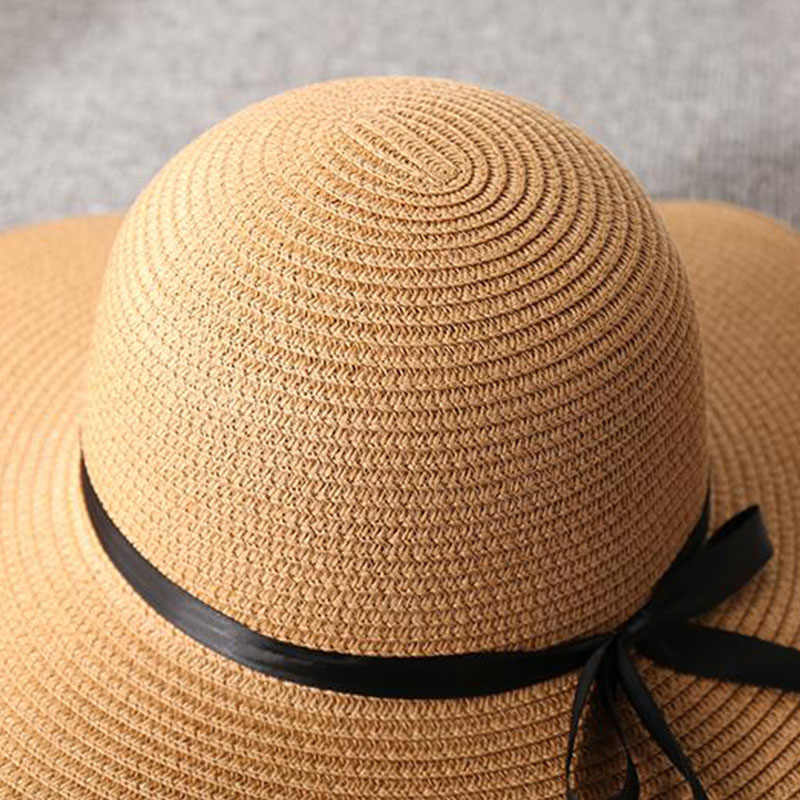 de2f373722e6f9 ... Summer Wide Big Brim floppy Straw Hats Sun Hats For Women UV Protection  Panama Beach Hats ...