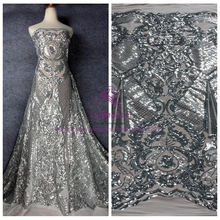 1Yard New silver sequins on white mesh embroidered evening/wedding dress lace fabric 51 with
