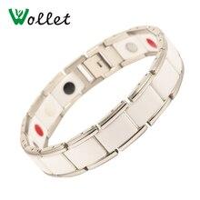 все цены на Wollet Jewelry Magnetic Ceramic Bracelet 316L Stainless Steel White Magnet Tourmaline Infrared Germanium Negative Ion Bracelets онлайн