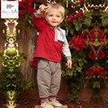 DB4773 davebella весной мальчиков красный полосатый комплект одежды мальчики красивый одежда дети бутик мальчики одежда наборы