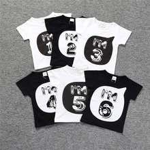 2019 Novelty Summer Top Baby Boys Girls T-Shirt Geometric 123456 Printing Short Sleeve Boys T Shirt Cotton Kids Clothes hunan dan 123456