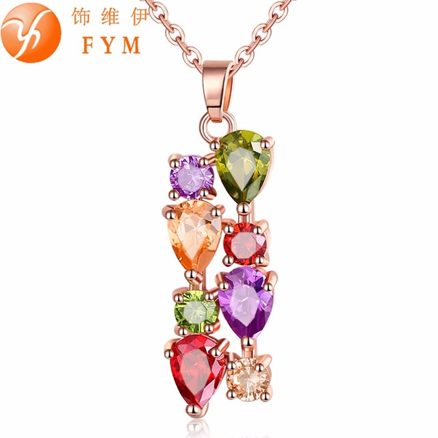 FYM Mona Lisa Womens Luxury Colorful Genuine AAA Cubic Zirconia Stone Wedding Ne